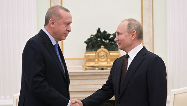 Vladimir Poutine et Recep Tayyip Erdogan réunis à Moscou le 5 mars 2020 - Sputnik France