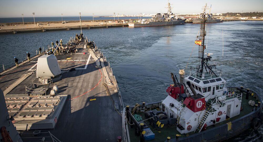 Destroyer USS Donald Cook à la base navale de Rota, Andalousie (photo d'archives)