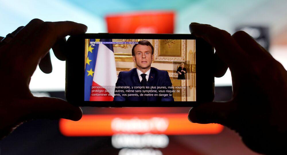 Emmanuel Macron lors de son intervention télévisée, le 16 mars
