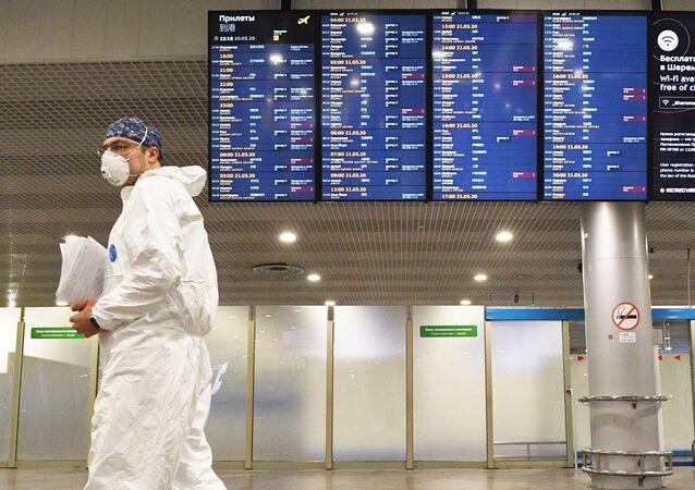 L'aéroport Cheremetievo de Moscou pendant la pandémie de coronavirus (archive photo)
