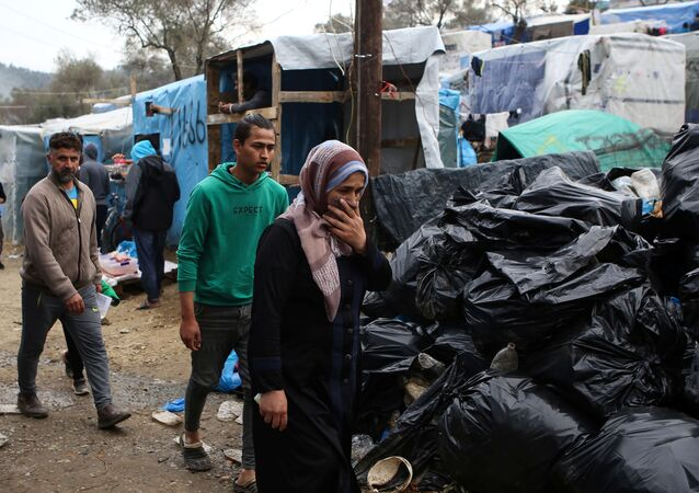 Le camp de Moria, sur l'île grecque de Lesbos, le 9 mars 2020.