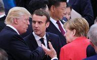Donald Trump, Emmanuel Macron et Angela Merkel lors du Sommet G20