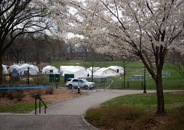 Un hôpital de campagne installé à Central Park, à New York
