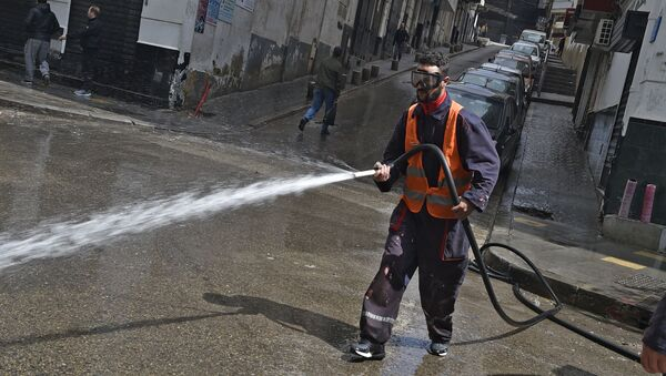 Un employé municipal désinfecte les rues à Alger. - Sputnik France
