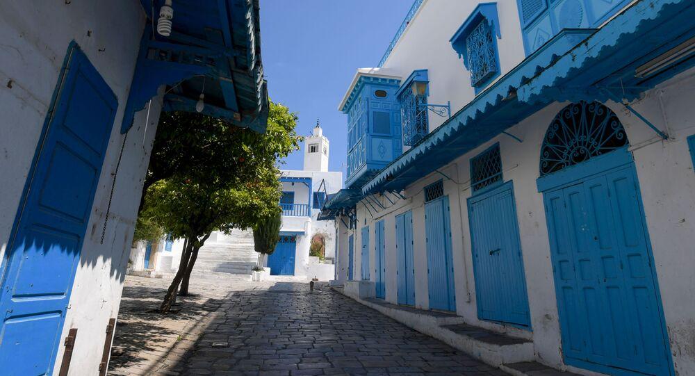 Les ruelles du village de Sidi Bou Said (Tunisie) pendant le confinement.