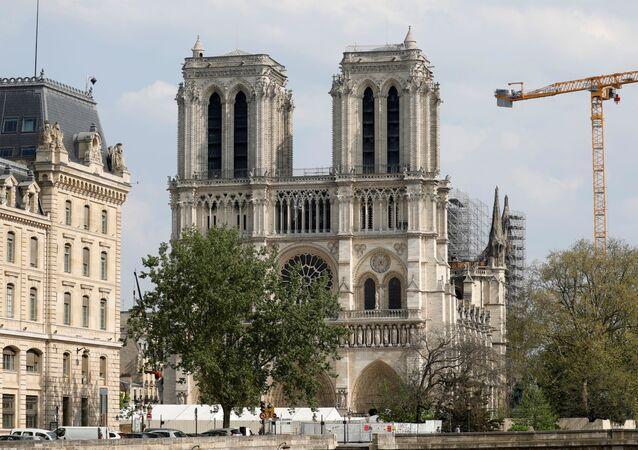 Notre-Dame de Paris un an après l'incendie, pendant le confinement du à l'épidémie de Covid-19