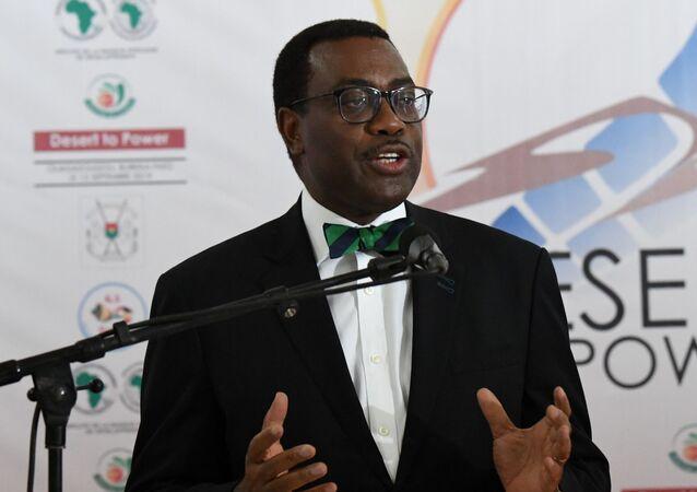 Le président de la BAD lors d'une conférence de presse du G5 Sahel, le 13 septembre 2019.