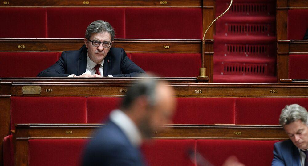 Jean-Luc Mélenchon lors du discours d'Édouard Philippe