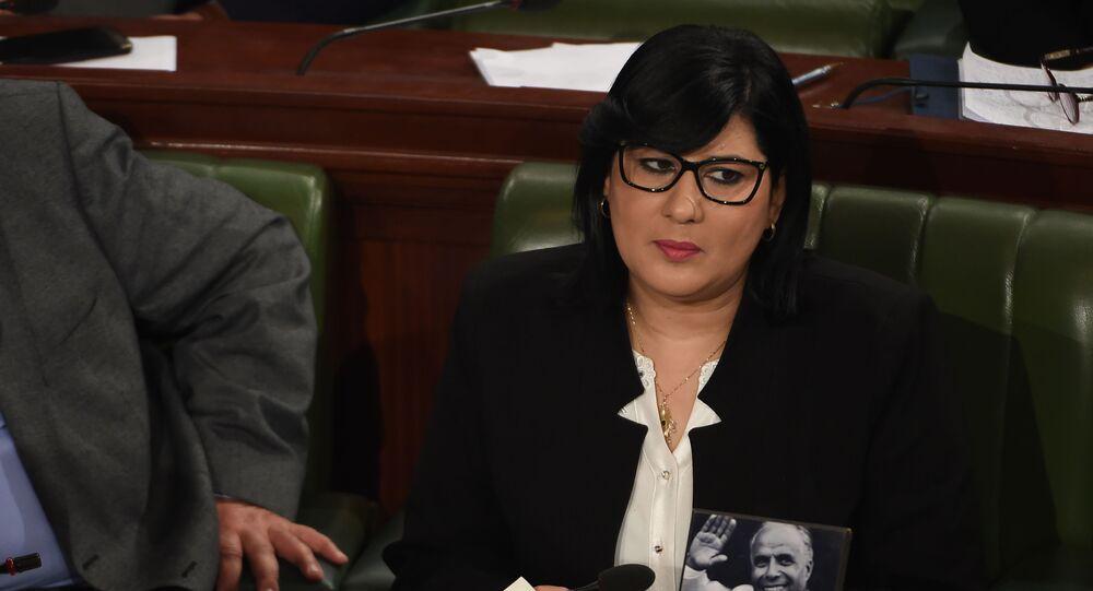 Abir Moussi, leader du parti Parti destourien libre (PLD) tunisien