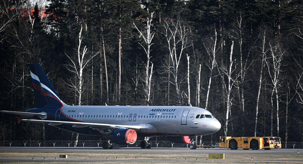 Un Airbus A-320 d'Aeroflot à l'aéroport Cheremetievo de Moscou