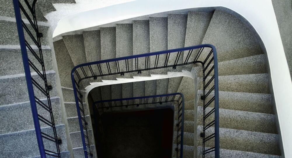 Une rampe d'escalier