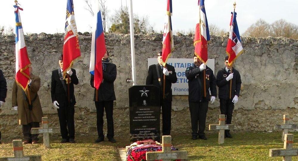 La sépulture du lieutenant de l'armée soviétique Alexis Nikolaew à Meaux, restaurée en 2016 par l'association Mémoire russe