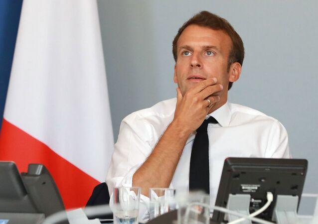 Emmanuel Macron lors de la vidéoconférnce du 6 mai