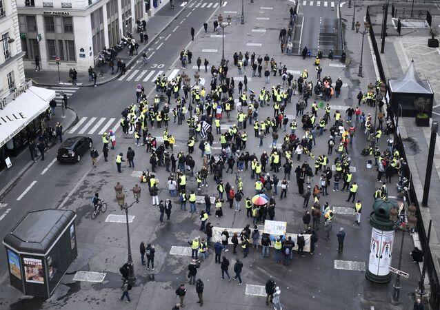 Un rassemblement des Gilets jaunes, le 28 décembre 2019