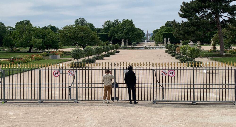 Le jardin de Tuileries fermé, 12 mai 2020