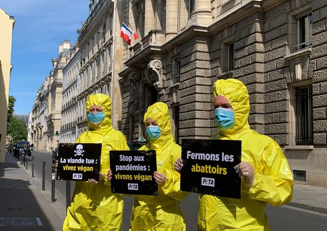 Action de PETA France devant le  Ministère de l'Agriculture et de l'Alimentation, 18 mai 2020
