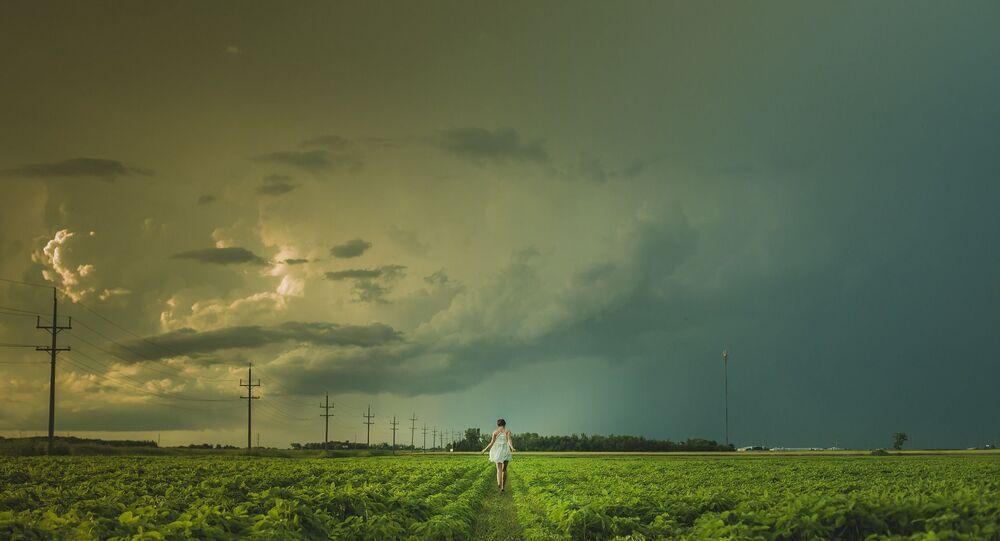 Une femme dans un champ