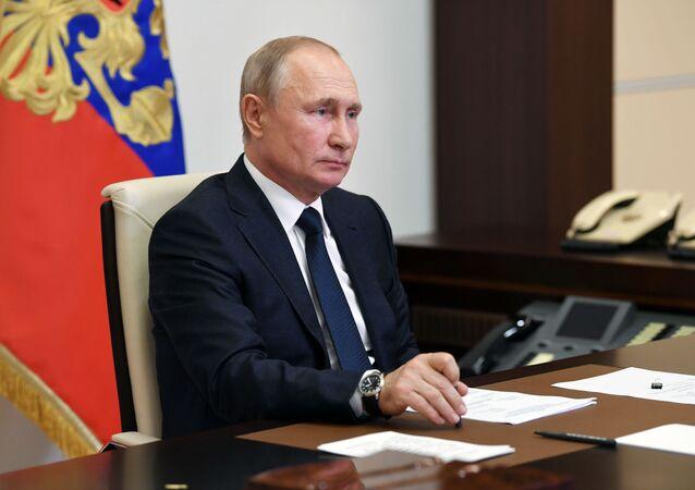 Vladimir Poutine lors d'une réunion organisée en visioconférence le 1er juin 2020