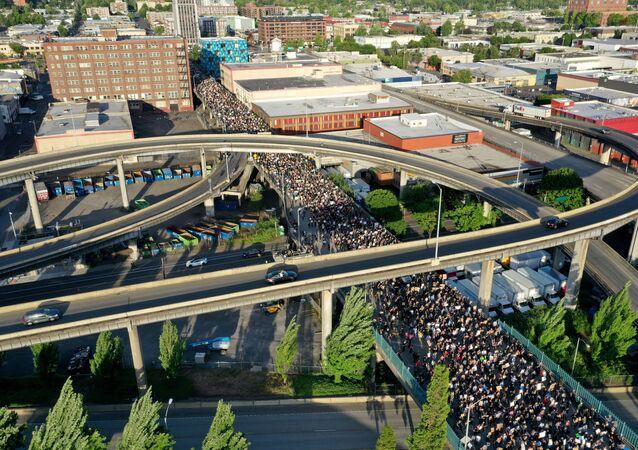 Une manifestation en hommage à George Floyd à Portland, dans l'Oregon, le 3 juin 2020.