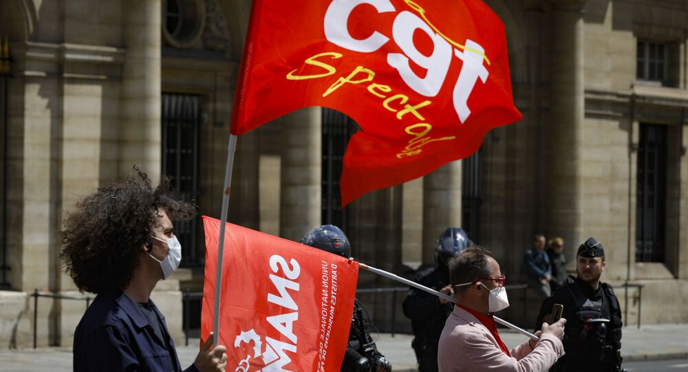 Une manifestation de la CGT Spectacle à Paris