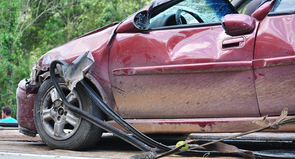 Une voiture endommagée dans un accident