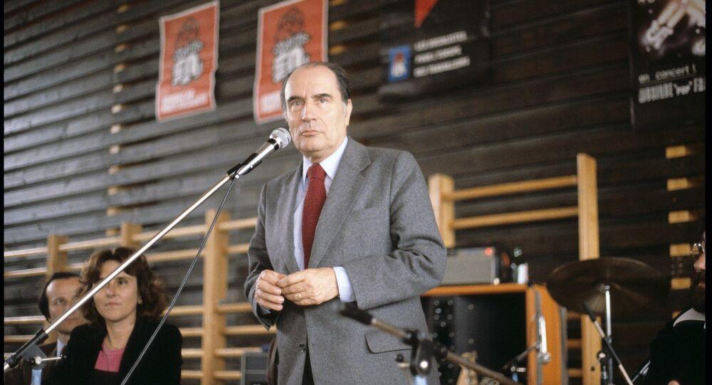 François Mitterrand tenant une réunion publique (Strasbourg, 1er mai 1979).