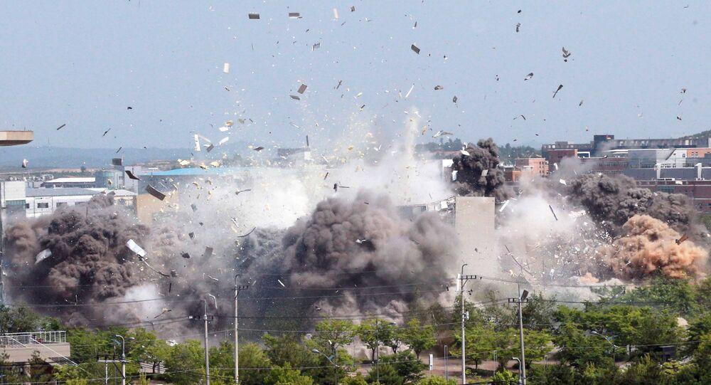 La démolition par la Corée du Nord du bureau de liaison intercoréen situé sur son sol, le 16 juin 2020