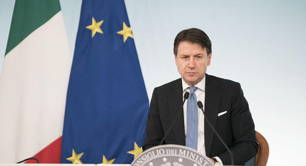 Il Presidente del Consiglio, Giuseppe Conte, in conferenza stampa al termine del Consiglio dei Ministri