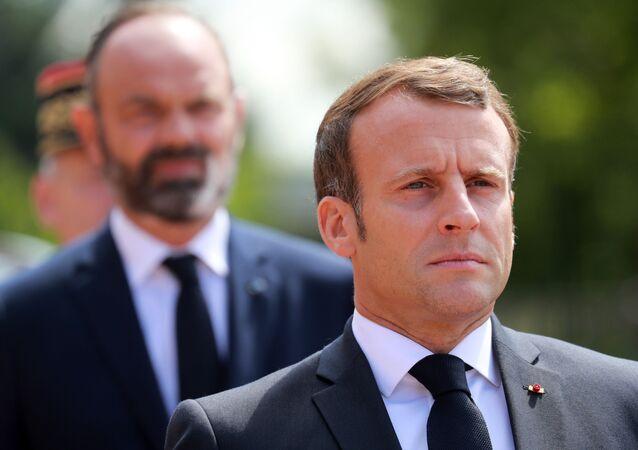 Emmanuel Macron et Édouard Philippe assistent aux commémorations des 80 ans de l'appel du 18 juin, le 18 juin 2020