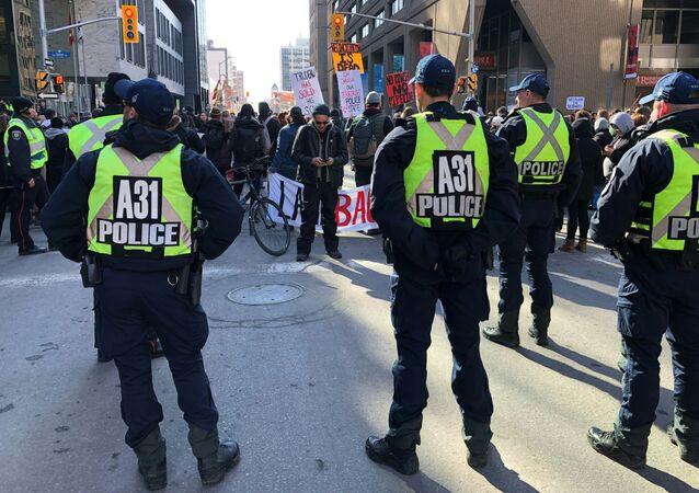 Manifestation à Ottawa (Canada) contre la construction d'un gazoduc en territoires autochtones, février 2020 (image d'illustration)