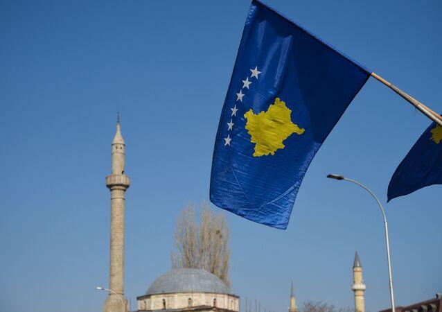 Le drapeau de Kosovo à Pristina