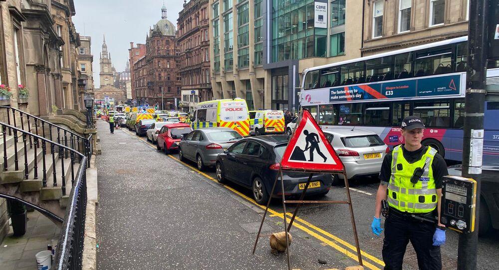 Sur les lieux de l'«incident» qui s'est produit à Glasgow, en Écosse, 26 juin 2020