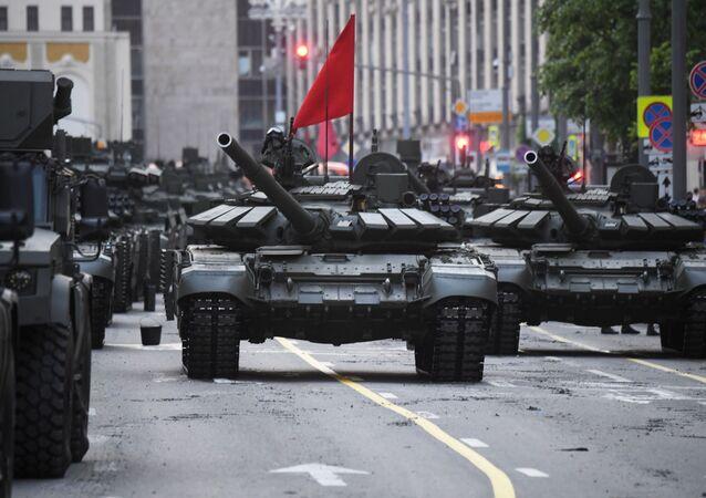 Des chars T-90M lors du défilé de la Victoire à Moscou