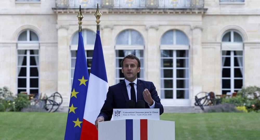 Emmanuel Macron s'exprime devant les membres de la Convention citoyenne pour le climat ce 29 juin 2020