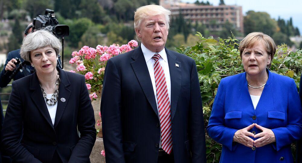 Theresa May Donald Trump et Angela Merkel