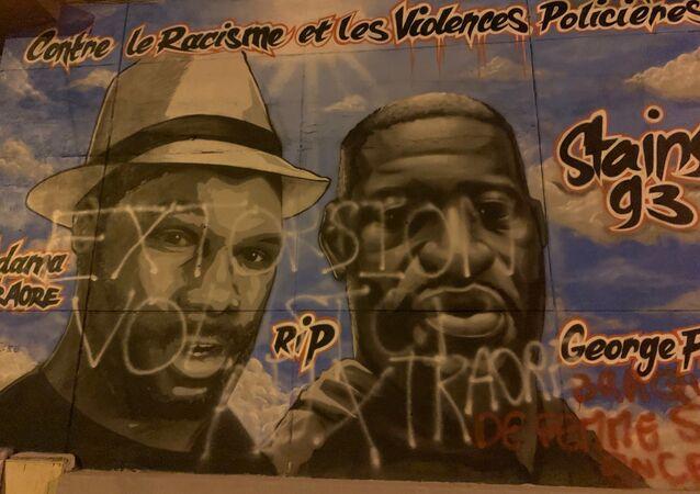 À Stains, dans le 93, la fresque en hommage à Adama Traoré et George Floyd a été vandalisée, 4 juillet 2020