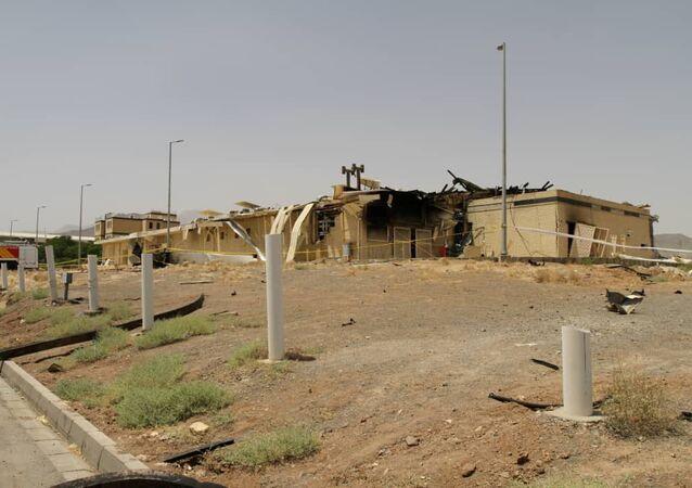 Le bâtiment endommagé par un incendie au site nucléaire iranien de Natanz