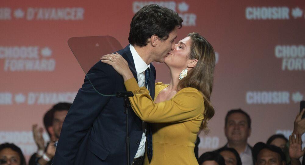 Justin Trudeau et sa femme Sophie Grégoire Trudeau, 21 octobre 2019 (image d'illustration)