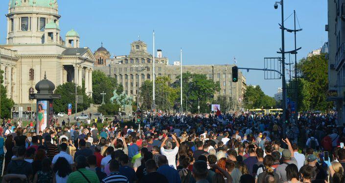 Manifestation à Belgrade