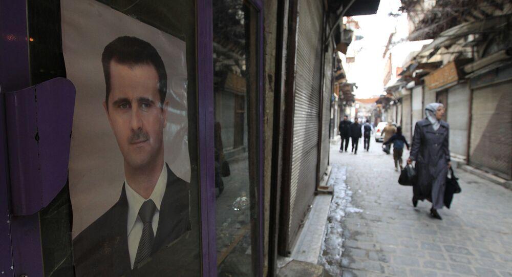 Le portrait du président syrien Bachar el-Assad, Damas. Archive photo