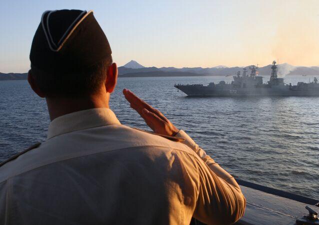 Varyag cruiser at a Pacific Fleet exercise