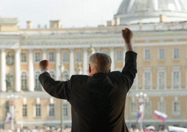 Выступление Ельцина на концерте-митинге