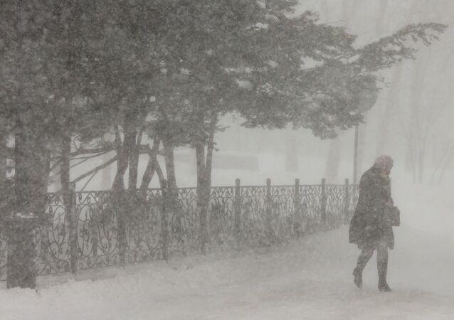 Chutes de neige à Sakhaline