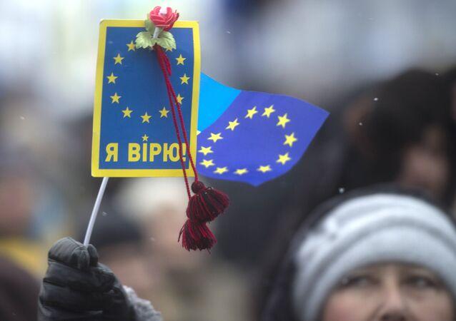 Partisans de l'intégration de l'Ukraine à l'UE sur la place de l'Indépendance à Kiev