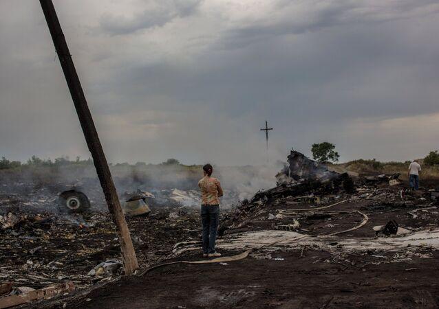 Le lieu du crash et des fragments du Boeing malaisien dans le Donbass. Archive photo